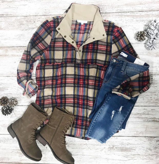 This plaid fleece pullover is the perfect top to snuggle up and read a book in!!!  Love the mix of taupe, red, blue, yellow plaid!