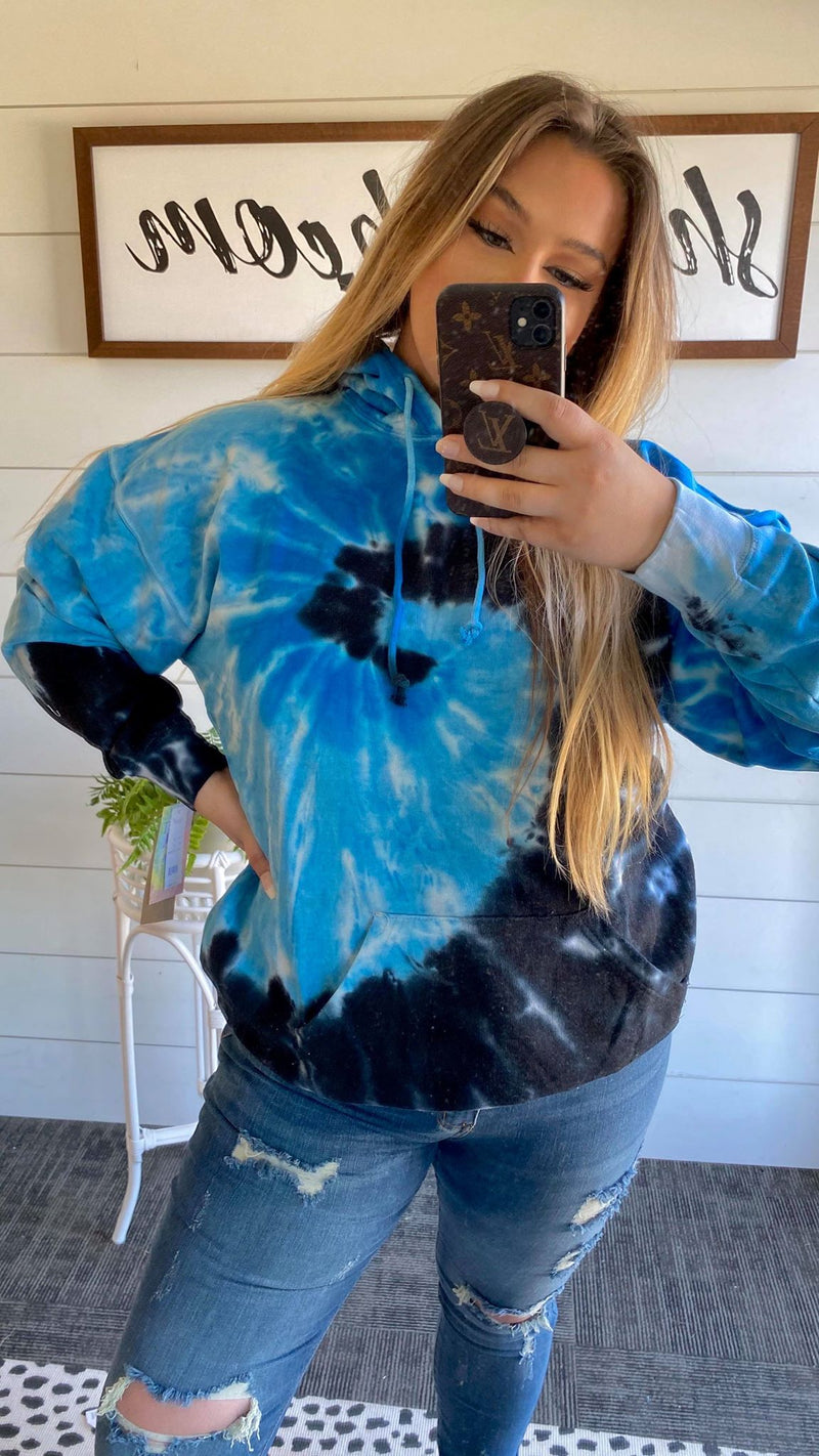 Blue Ocean Tie Dye Hoodie, CLOTHING, Exist Sport Line, BAD HABIT BOUTIQUE