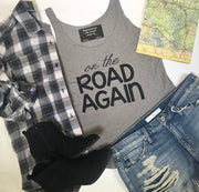 This on the road again tank is the perfect travel or music festival top.