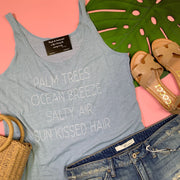palm trees ocean breeze baby blue tank