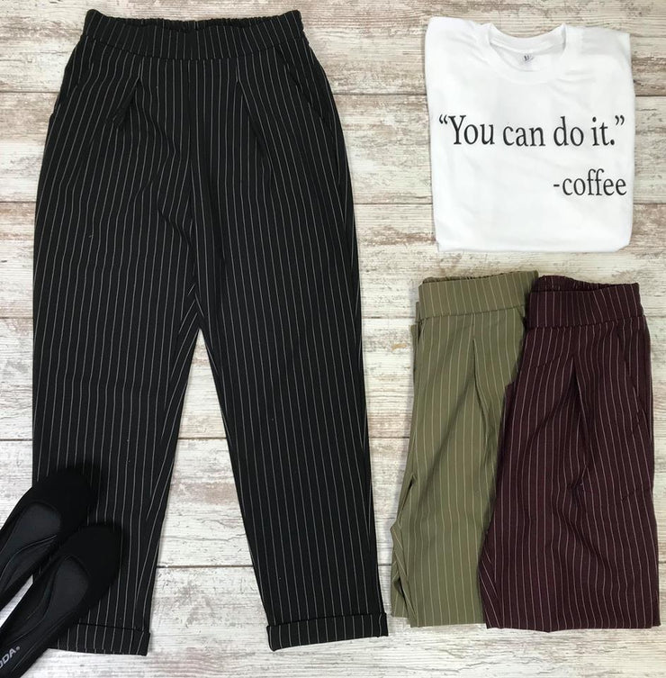These pin stripe dress slacks are a great addition to the girl looking for a new style to wear to work.  pinstripe pants, dress slacks, slacks, trousers