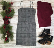 This spaghetti strap plaid dress is the perfect winter dress!
