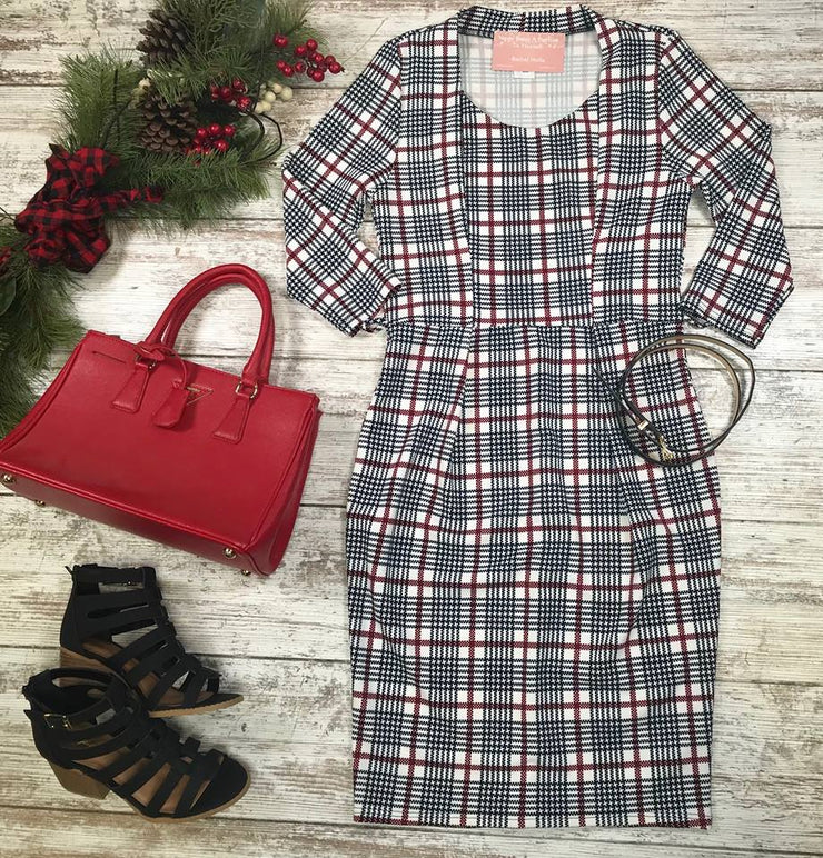 This Plaid belted dress is simply adorable..perfect for the casual or dress up sort of day.