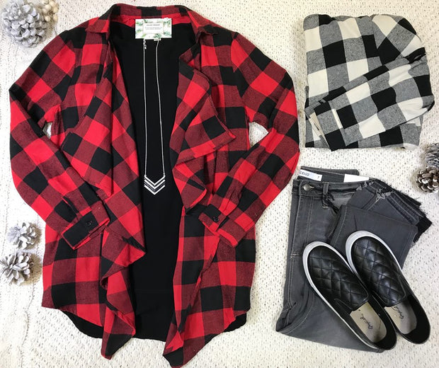 Loving the style of the buffalo plaid draped cardigan!  Perfect fit as it runs true to size.