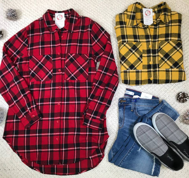 Bloggers are styling this flannel boyfriend cardigan layered under vest, over graphic tees....this tunic length flannel plaid is thee best way to layer this winter season!