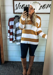 striped sweater go for cozy