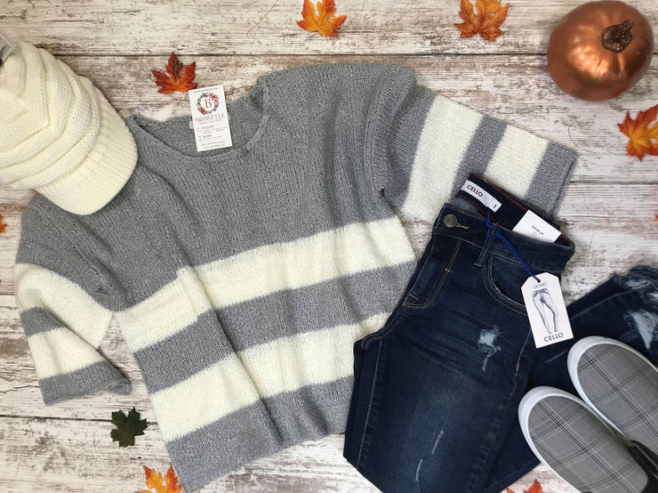 Cropped Striped Sweater- light gray, SWEATER, BAD HABIT BOUTIQUE , badhabitboutique