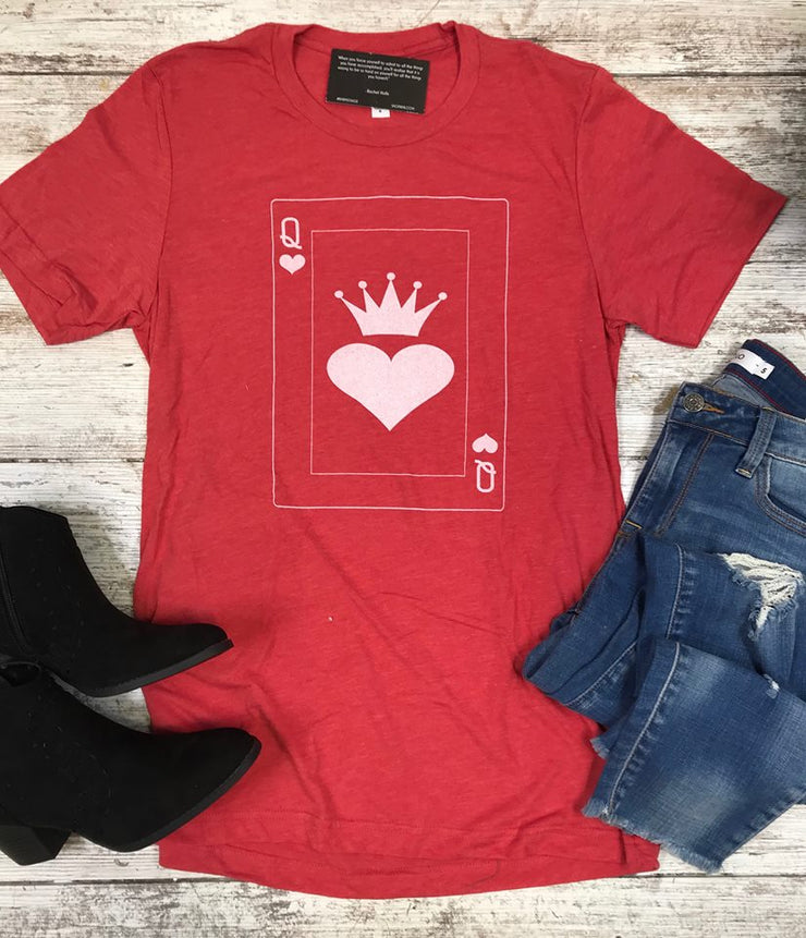 These red queen of hearts tee is a unisex fit and truly off with head, delicious!