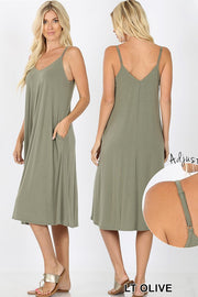 olive dress, tank dress, tank dresses, cami dresses, knee length dress