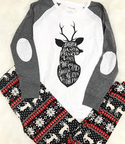 This reindeer games elbow patch long sleeve top is sure to be a holiday favorite.