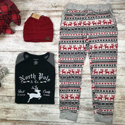 These reindeer joggers with red. black, and white stripes of holiday are the perfect lounge wear!