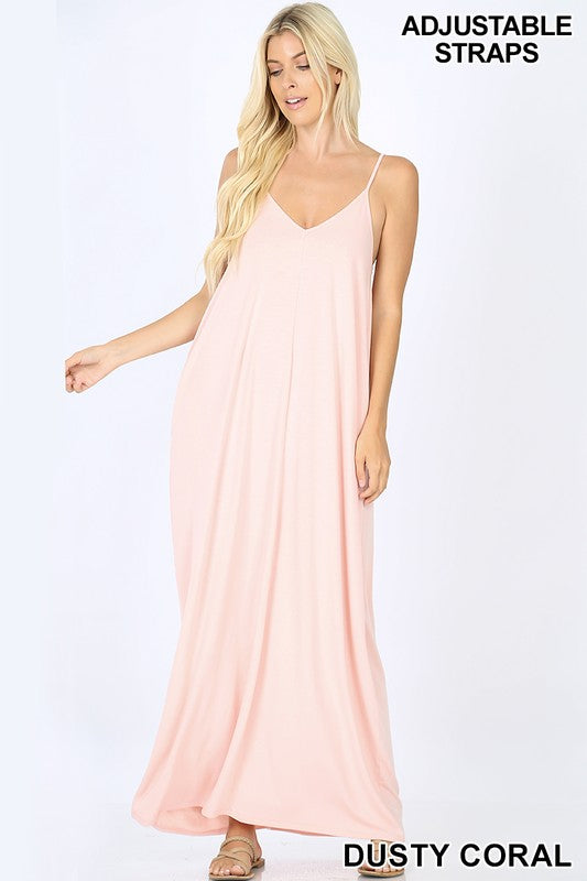 V-neck Cami Maxi Dress with Side Pockets
