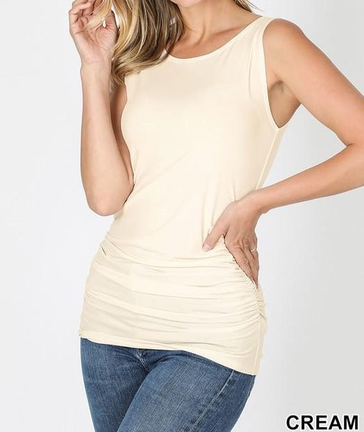 Ruched Tank Top, CLOTHING, Zenana, BAD HABIT BOUTIQUE