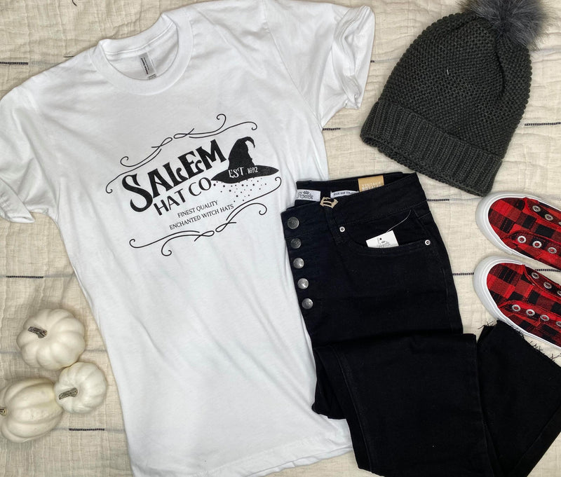 Salem Hat Co Graphic T-shirt - White, CLOTHING, BAD HABIT APPAREL, BAD HABIT BOUTIQUE