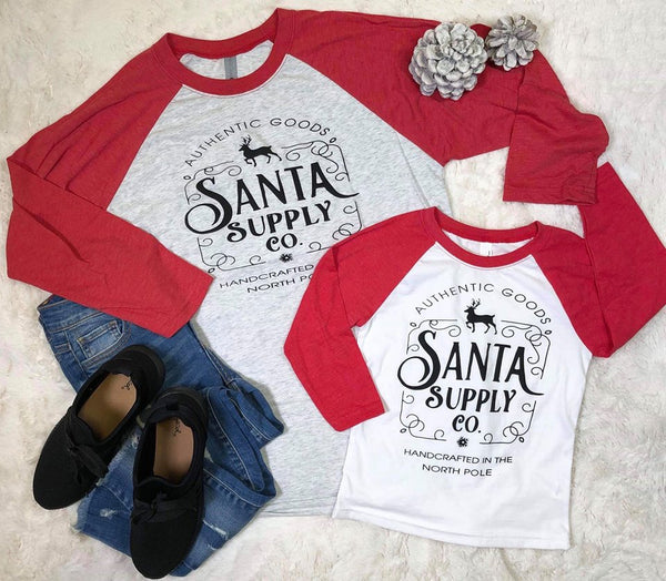 SideKick Collection: Santa Supply Co. Baseball Tee, CLOTHING, BAD HABIT APPAREL, BAD HABIT BOUTIQUE