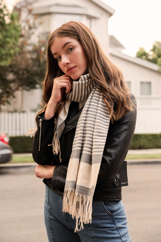 Contemporary Stripe Woven Tassel Scarf, CLOTHING, Leto, BAD HABIT BOUTIQUE