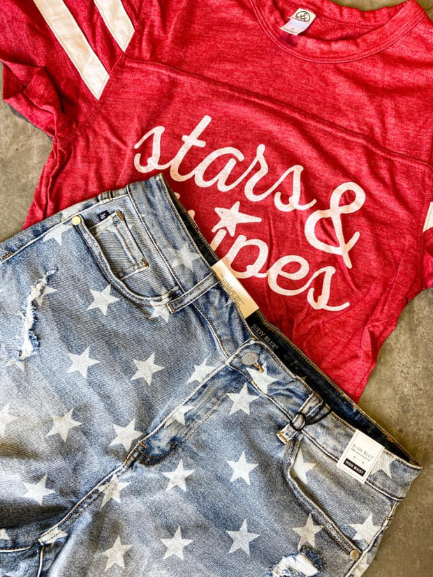 Star Denim Shorts - Judy Blue, CLOTHING, JUDY BLUE, BAD HABIT BOUTIQUE