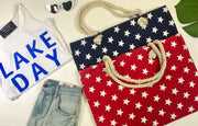 zipper closure star tote