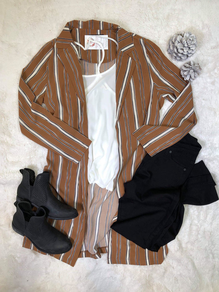 This striped duster blazer is stylishly me...pairing it with a white tee, black jeans and booties to complete the look with this mocha mustard blazer.