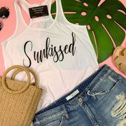 sunkissed graphic white racer back tank