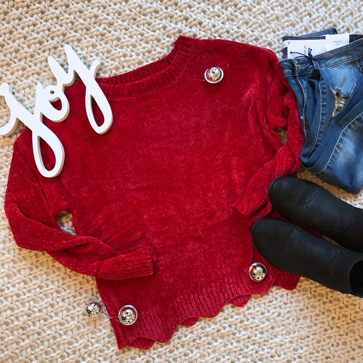 Chenille Red Sweater, SWEATERS, Style Melody, badhabitboutique