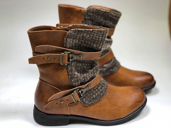Arden-2 Sweater Boots - New Tan - BAD HABIT BOUTIQUE