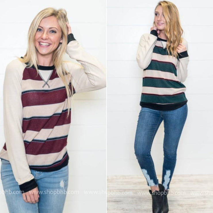 These are the two colored options for these striped raglan contrast top.
