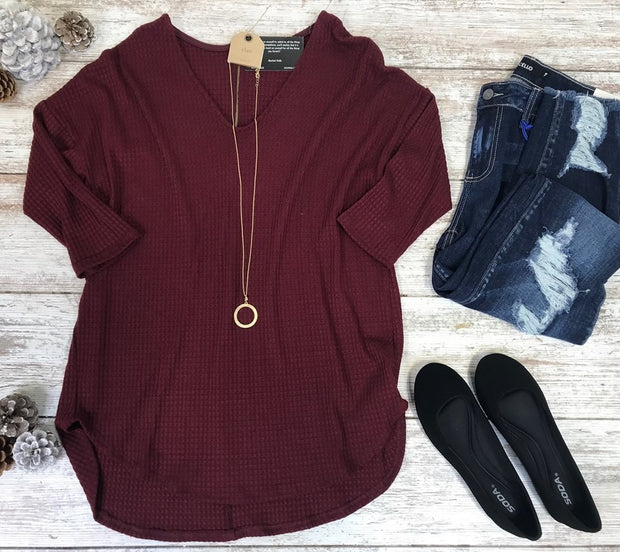 Back Zipper Waffle Top-Wine-FINAL SALE
