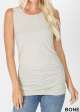 ruched tank top bone