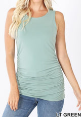 ruched tank top light green