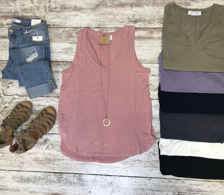 These v-neck tanks in a variety of solid colors are perfect to style with anything.