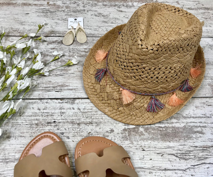 C.C. Tassel Band Fedora - Natural, HATS, CCBEANIE, BAD HABIT BOUTIQUE