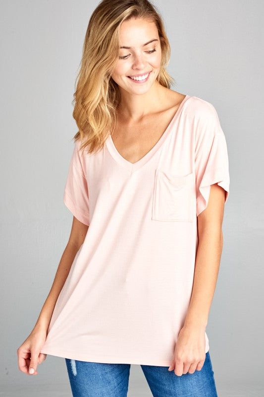 Spring V-neck Basic S/S Top