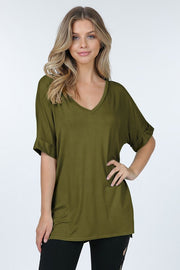 Banded Short Sleeve V Neck Tunic Top With Side Slits