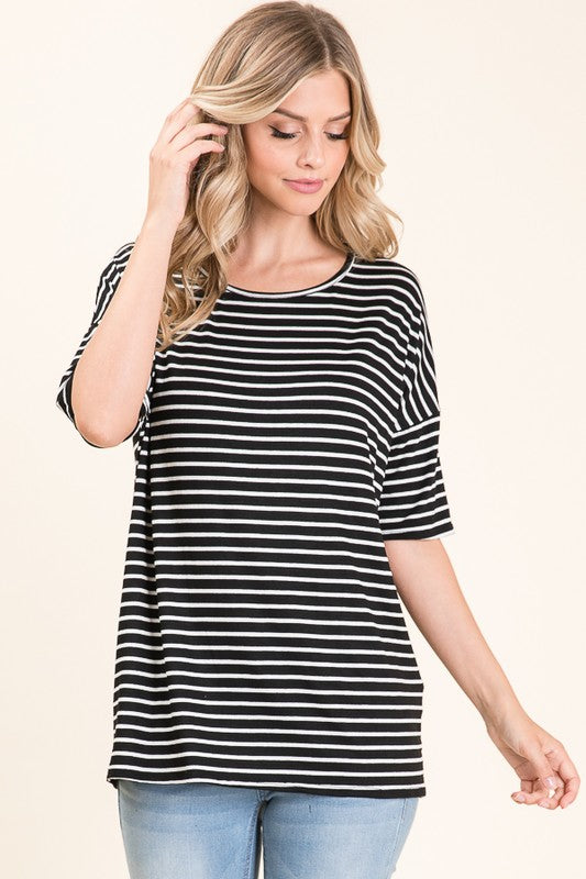 Casual Striped Tee | FINAL SALE, CLOTHING, BOMBOM, BAD HABIT BOUTIQUE