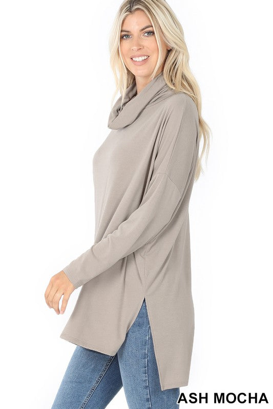 Cowl Neck Hi-Low Tunic- Final Sale, CLOTHING, Zenana, BAD HABIT BOUTIQUE