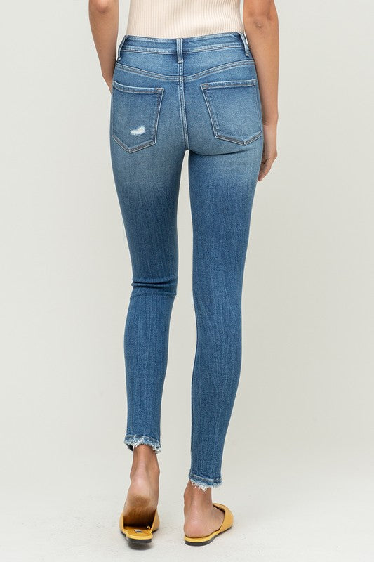 Mid Rise Button Fly Distressed Medium Wash Ankle Skinny Jeans - Vervet, CLOTHING, Vervet, BAD HABIT BOUTIQUE