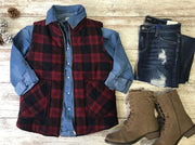 This red and navy flannel vest is a great layering piece for that lodge fashion.