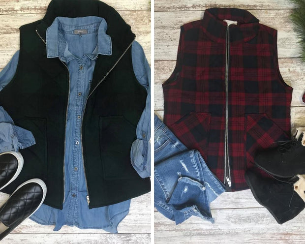 This quilted plaid flannel vest is the perfect layering piece for this winter season.