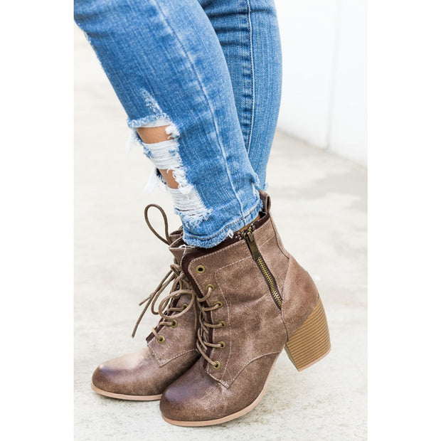 TAUPE RUSTIC DISTRESSED COMBAT HEEL BOOTIES