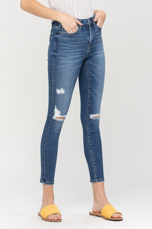 Haylie High Rise Distressed Ankle Skinny Jeans - Vervet