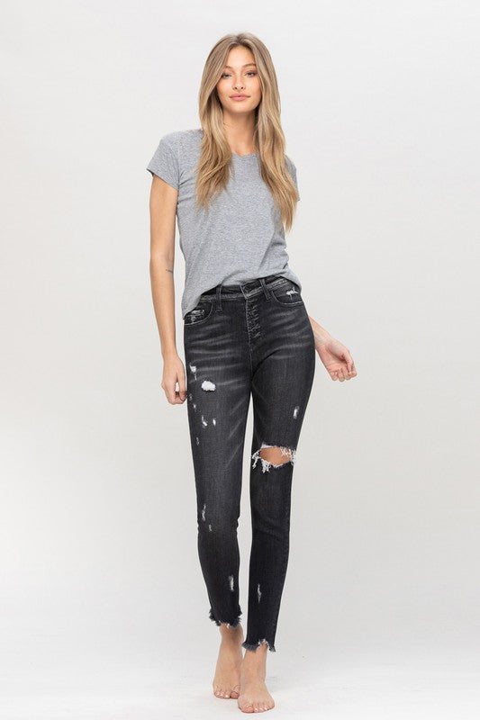 Black High Rise Button Up Ankle Skinny Jeans -Vervet