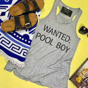This gray racer back tank is the perfect graphic top...wanted: pool boy
