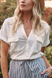 short sleeve white top, top, tops, the simple life henley, white tops, spring tops
