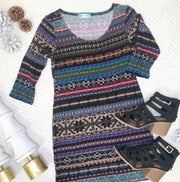 This winter wonderland striped tunic is perfect for layering with a vest and some leggings.