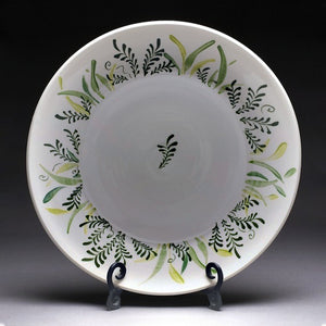Hand Crafted porcelain pottery platter with fern painting
