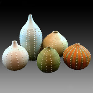 Group of Sea Urchin porcelain hand crafted pottery