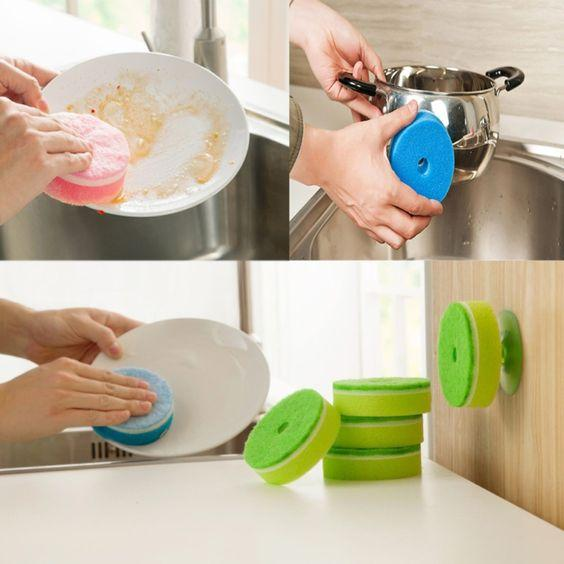 Double-sided Sponge with Suction Cup