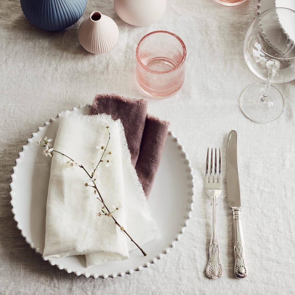 Linen Napkins Set of 2 choose either deep rose or egg white