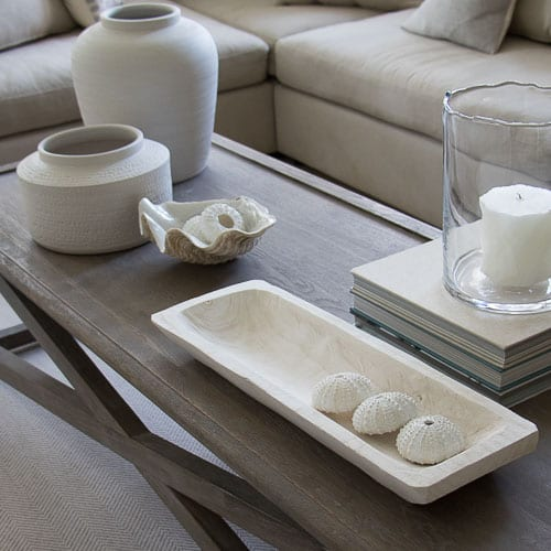Beautiful neutrals on this coffee table styled by Layered Lounge